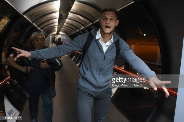 Bruno Zuculini of River Plate arrives to Brazil May 20 2019 in Curitiba Brazil River Plate will face Atletico Paranaense as part of Recopa CONMEBOL...