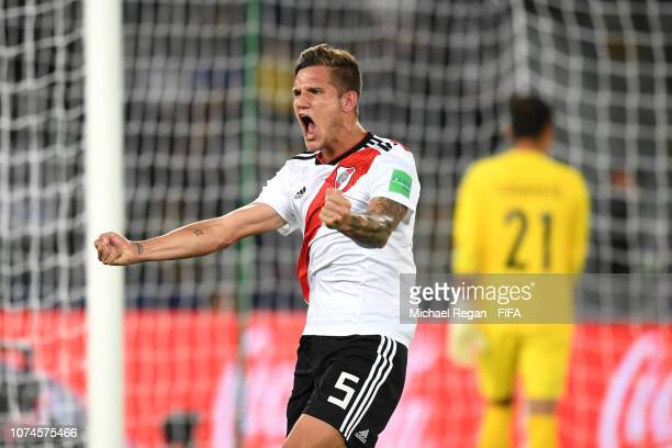 Bruno Zuculini of River Plate celebrates after scoring his team's first goal during the FIFA Club World Cup UAE 2018 3rd Place match between River...