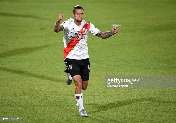 Bruno Zuculini of River Plate celebrates after scoring the first goal of his team during a match between River Plate and Godoy Cruz as part of Copa...