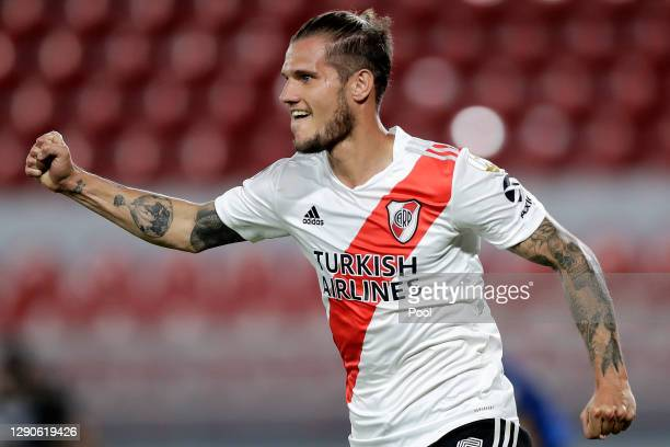 Bruno Zuculini of River Plate celebrates after scoring the second goal of his team during a first leg match between River Plate and Nacional as part...