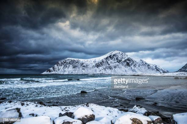 Brunstranda beach in winter, Flakstad, Lofoten, Nordland, Norway
