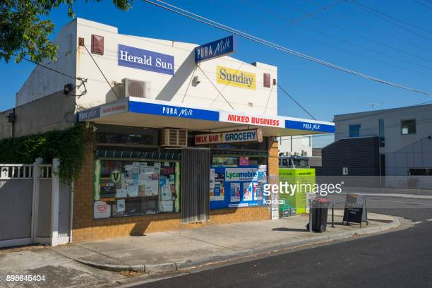 brunswick - milk bar - convenient store stock photos and pictures