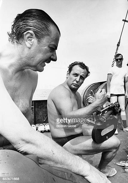 Brunvo Vailati left and Arnolda Mattei discuss equipment and scenes to be shot on board the Narragansett prior to diving on the Andrea Doria 45 miles...