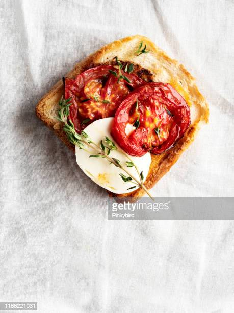 bruschetta and small sandwiches,bruschetta with tomatoes, crostini,,snack or appetizer - mozzarella stock photos and pictures