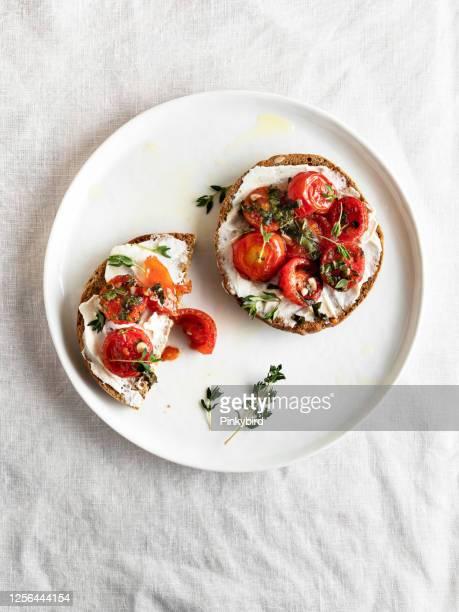 bruschetta, bruschetta with cherry tomatoes, crostini, bruschetta - cream cheese stock pictures, royalty-free photos & images