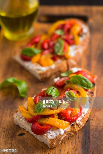 Bruschetta with Goat Cheese and Roasted Bell Peppers