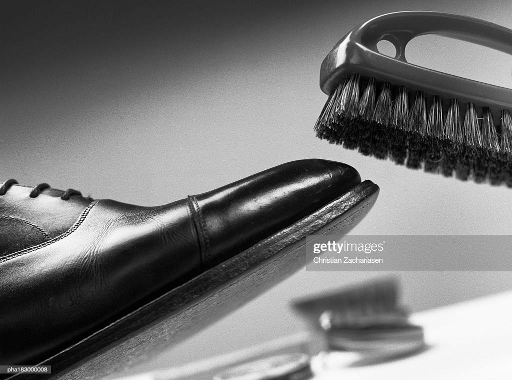 Brush above leather shoe, close-up, b&w : Stockfoto