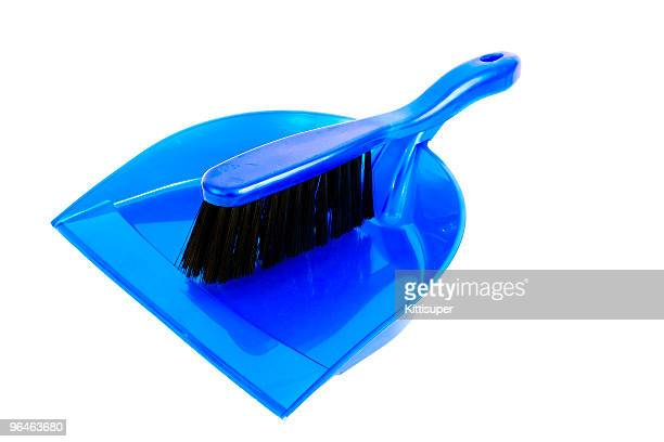 brush and dustpan  blue color - dustpan and brush stock pictures, royalty-free photos & images