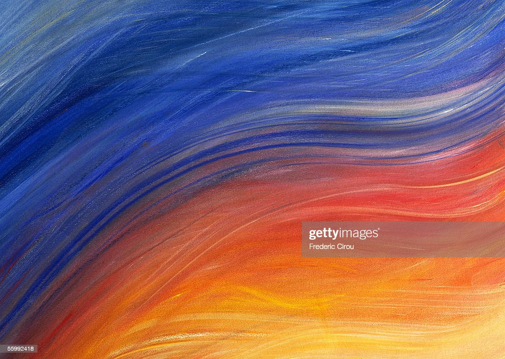 Brush strokes painted in shades of yellow, red and blue, close-up, full frame : Stock Photo