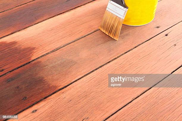 brush tin and decking oil for a timber deck - deck stock pictures, royalty-free photos & images