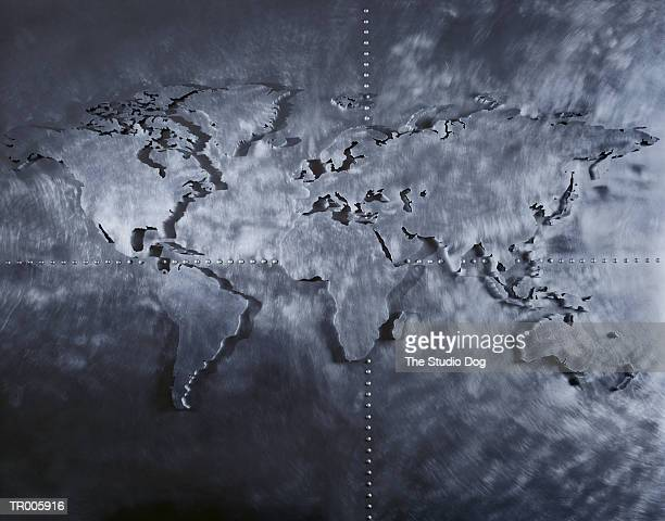 brushed metal map of the world - breitengrad stock-fotos und bilder