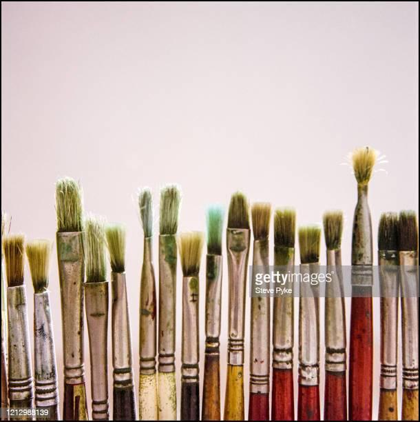 Brushes belonging to British landscape painter Adrian Berg Brighton East Sussex 30th June 1999