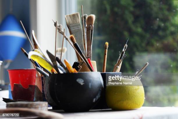 Brushes in the Artist Studio