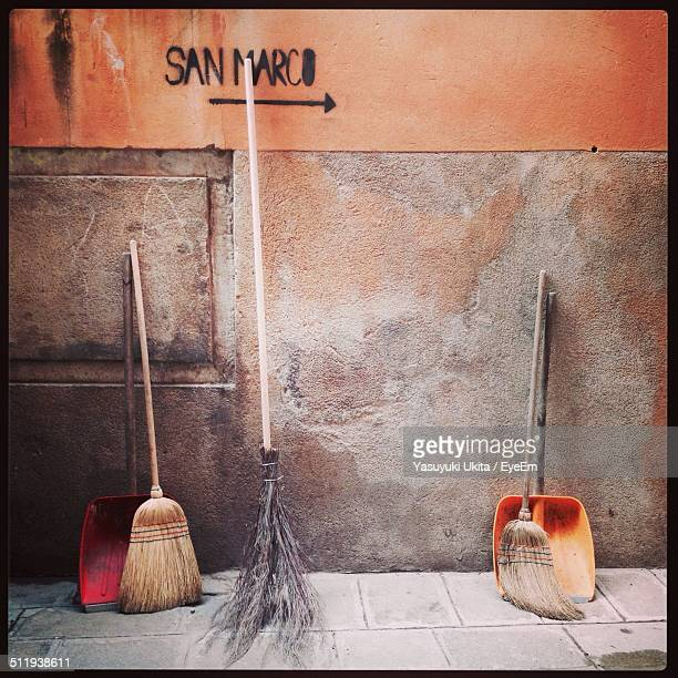 Brushes in the street in a historical city