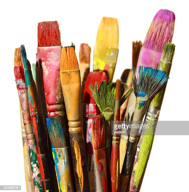 brushes - art and craft equipment stock pictures, royalty-free photos & images
