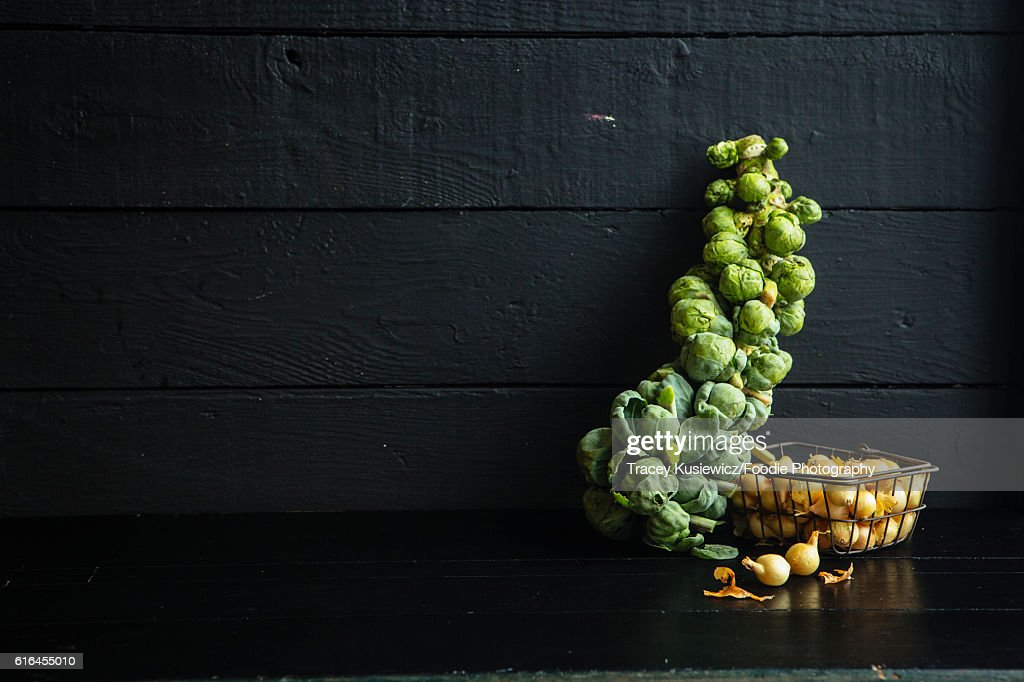 Brussel Sprouts and pearl onions : Stock Photo