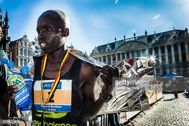 Brussels 2012 07 october. The Marathon of Brussels ended on the medieval central square . In this picture the Kenian Winner Joash Mutai. His...