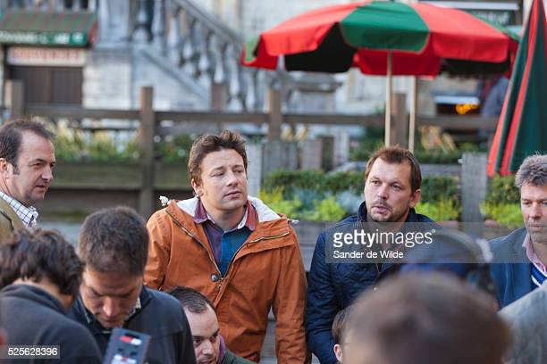 Brussels 2012 10 october Jamie Oliver and Jimmy Doherty on the filmset of a new BBC series called 'Jamie's and Jimmy's Food Fight Club' where they...