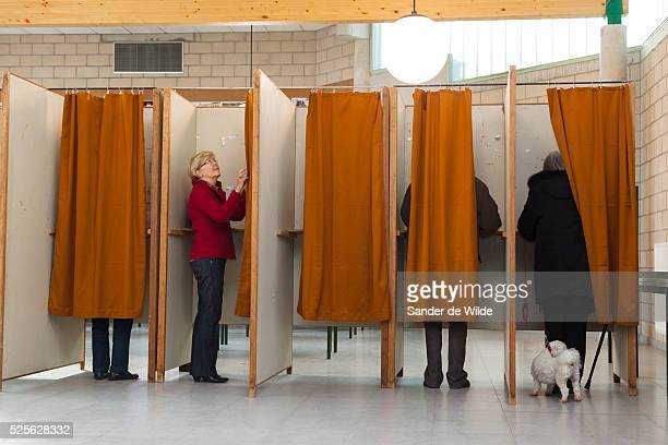 Brussels 2012 14 october. Belgian municipal elections. Mrs Van Rompuy , voted in a school in Saint Genesius Rode, where she and MR Van Rompuy live....
