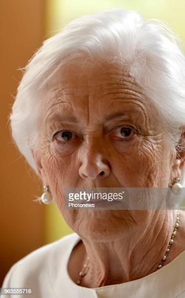 Brussels 290518 Visite de la reine Paola à l'école communale ArcenCiel de Molenbeek Bezoek van koningin Paola aan de gemeentelijke basisschool...