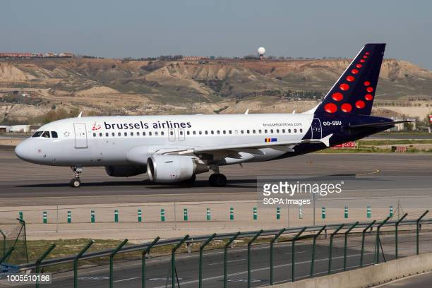 Brussels Airlines Airbus 319 taxiing at Madrid Barajas airport