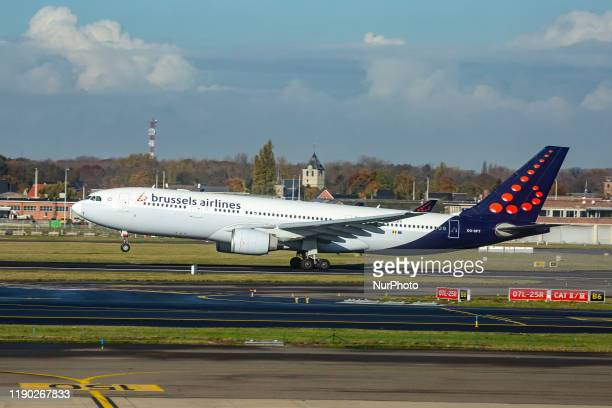 Brussels Airlines Airbus A330200 aircraft as seen during take off in rotation phase departing from the runway from Brussels Zaventem BRU EBBR Airport...