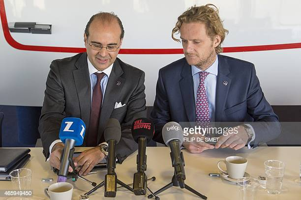 Brussels Airlines CEO Bernard Gustin and Brussels Airlines CFO Jan De Raeymaeker ready for a press conference of Brussels Airlines to present the...