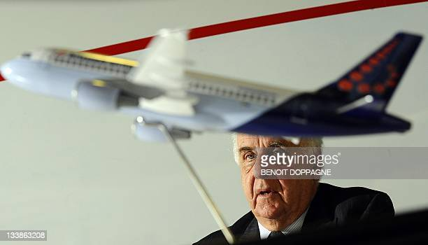 Brussels Airlines' Chairman of the board of directors Viscount Etienne Davignon gives a press conference on November 21 2011 at the compagny's...