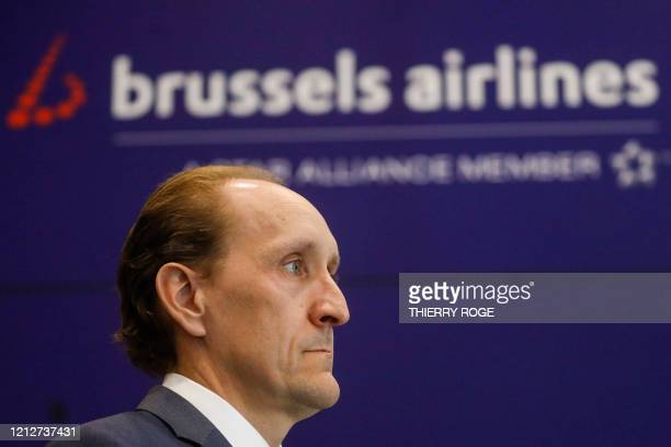 Brussels Airlines Chief Financial Officer Dieter Vranckx looks on after an Extraordinary Works Council of Brussels Airlines in Zaventem on the...