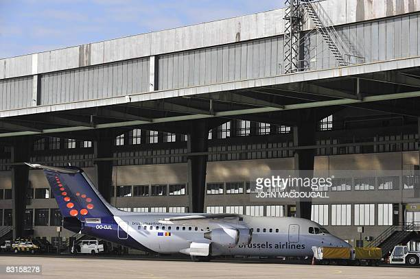 Brussels Airlines passenger jet waits for take off outside the main terminal at Tempelhof airport in Berlin October 7, 2008. The airport, originally...