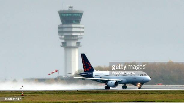 Brussels Airlines plane is seen at Brussels Airport as storm 'Ciara' and its strong winds effect the activity at the airport in Brussels Belgium on...