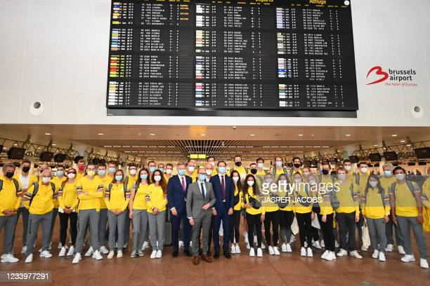 Brussels Airport CEO Arnaud Feist, Flemish Minister of Education and Animal Welfare and Sports Ben Weyts and Prime Minister Alexander De Croo pose...