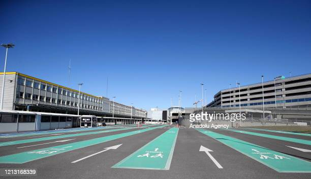 Brussels Airport remains empty after Belgium extends flight cancellations by 11 more days until 18 June within coronavirus measures in Brussels,...