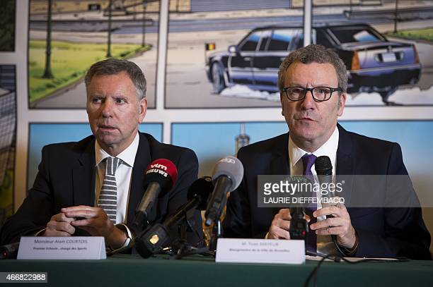 Brussels' alderman Alain Courtois and Brussels City mayor Yvan Mayeur attend a press conference of the city of Brussels on the future National Soccer...