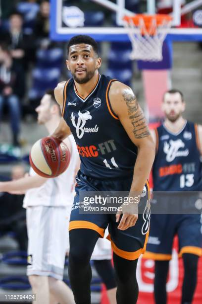 Brussels' Amin Stevens pictured in action during the basketball match between Antwerp Giants and Brussels the first semi final of the Belgian Cup...