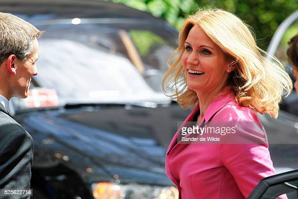 Brussels. Arrivals of heads of state at the beginning of a European Summit. Helle Thorning-Schmidt, PM of Denmark