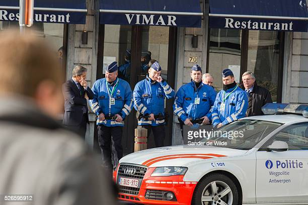 Brussels Belgium 12 February 2015Informal meeting of the Members of the European Council Policemen and a police car from antwerp in front of...