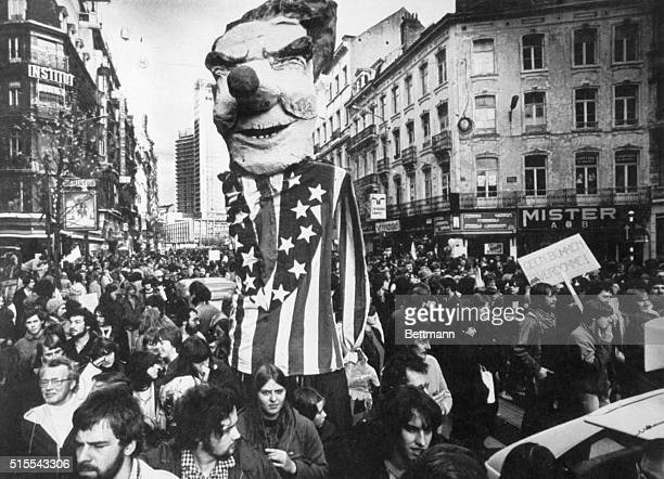 A mock effigy of US President Ronald Reagan is paraded through the streets of Brussels during an antinuclear rally here The protesters were...