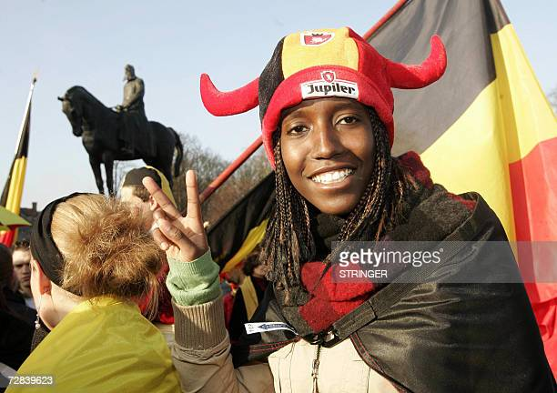 """Woman with African origin is pictured during a demonstration by some 300 defenders of a """"united Belgium"""" demonstrate, Sunday 17 December 2006, near..."""