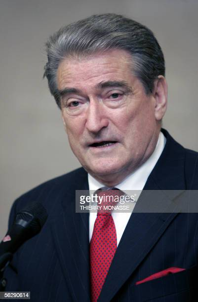 Albanian Prime Minister Sali Berisha and the European Commission President Jose Manuel Barroso talk to the press after a bilateral meeting in the...