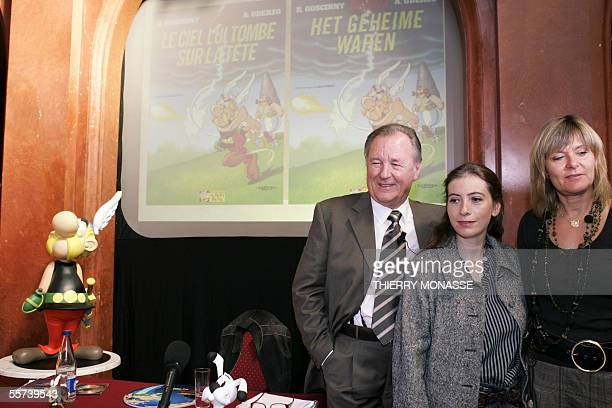 Albert Uderzo the 78 yearold illustrator who launched the Asterix comic strip character in 1959 with author Rene Goscinny poses with with the...