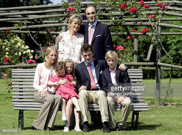 Belgian Prince Lorenz and Princess Astrid pose with their children Princess MariaLaura Princess LaetitiaMaria Princess LouisaMaria Prince Amedeo and...