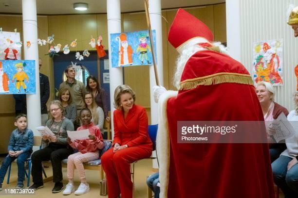 Brussels Belgium Visite de la Reine à l'Hôpital Universitaire des Enfants Reine Fabiola Bezoek van de Koningin aan het Universitair Kinderziekenhuis...