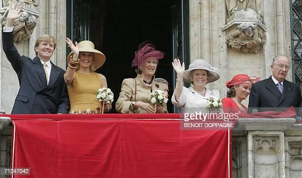 Dutch Crown Prince Willem Alexander and Princess Maxima Queen Paola of Belgium Dutch Queen Beatrix Pincess Mathilde and Belgian King Albert II greet...