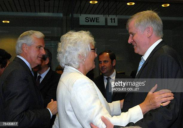 EU agriculture and rural development commissioner Mariann Fischer Boel greets GermanAgriculture Minister Horst Seehofer as French Agriculture...