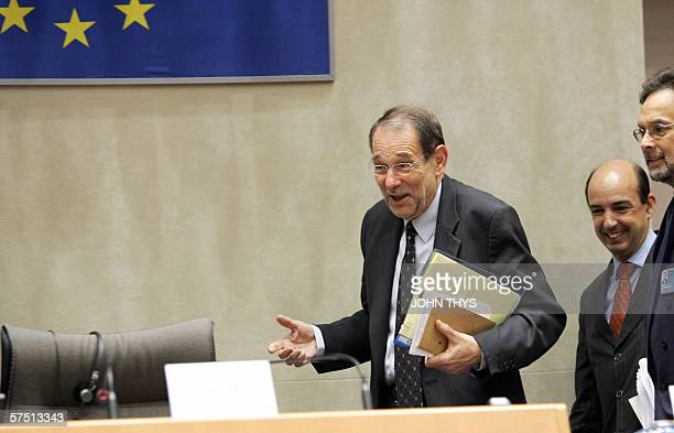 EU Foreign Policy Chief Javier Solana and former human rights commissioner Alvaro GilRobles arrive to give a joint press conference on the CIA's...