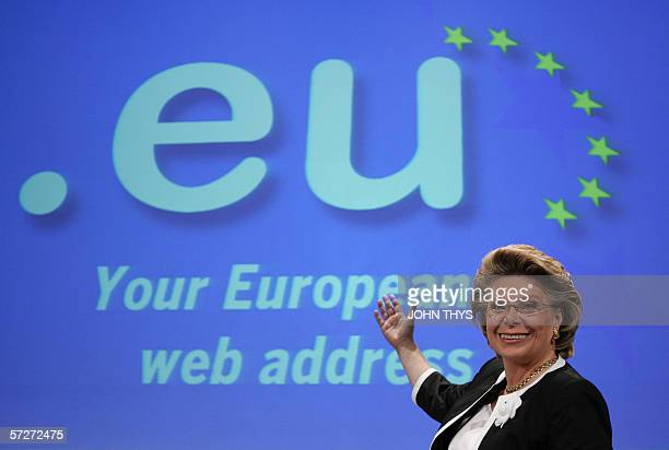 European Commissioner for Information Society and Media Viviane Reding gives a a press conference on the 'eu opens for all citizens' 07 April 2006 at...