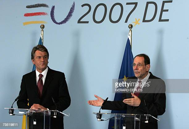 European Union Foreign Policy Chief Javier Solana gives a joint press conference with Ukrainian President Viktor Yushchenko following their meeting...