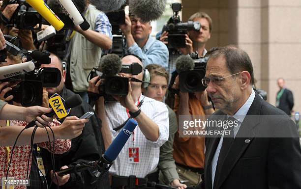 European Union Foreign Policy Chief Javier Solana arrives for the second day of a European summit 22 June 2007 in Brussels European Union leaders...
