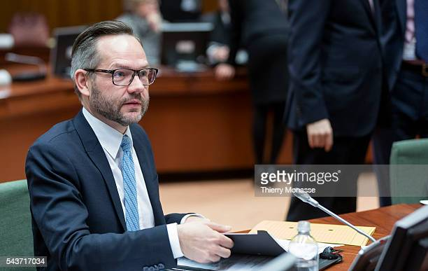 Brussels Belgium February 10 2015 German state secretary Michael Roth is looking at papers prior the start of an EU general affairs Council in the EU...